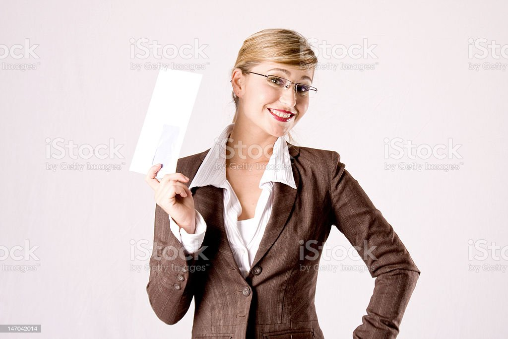 saleslady with a mailer royalty-free stock photo
