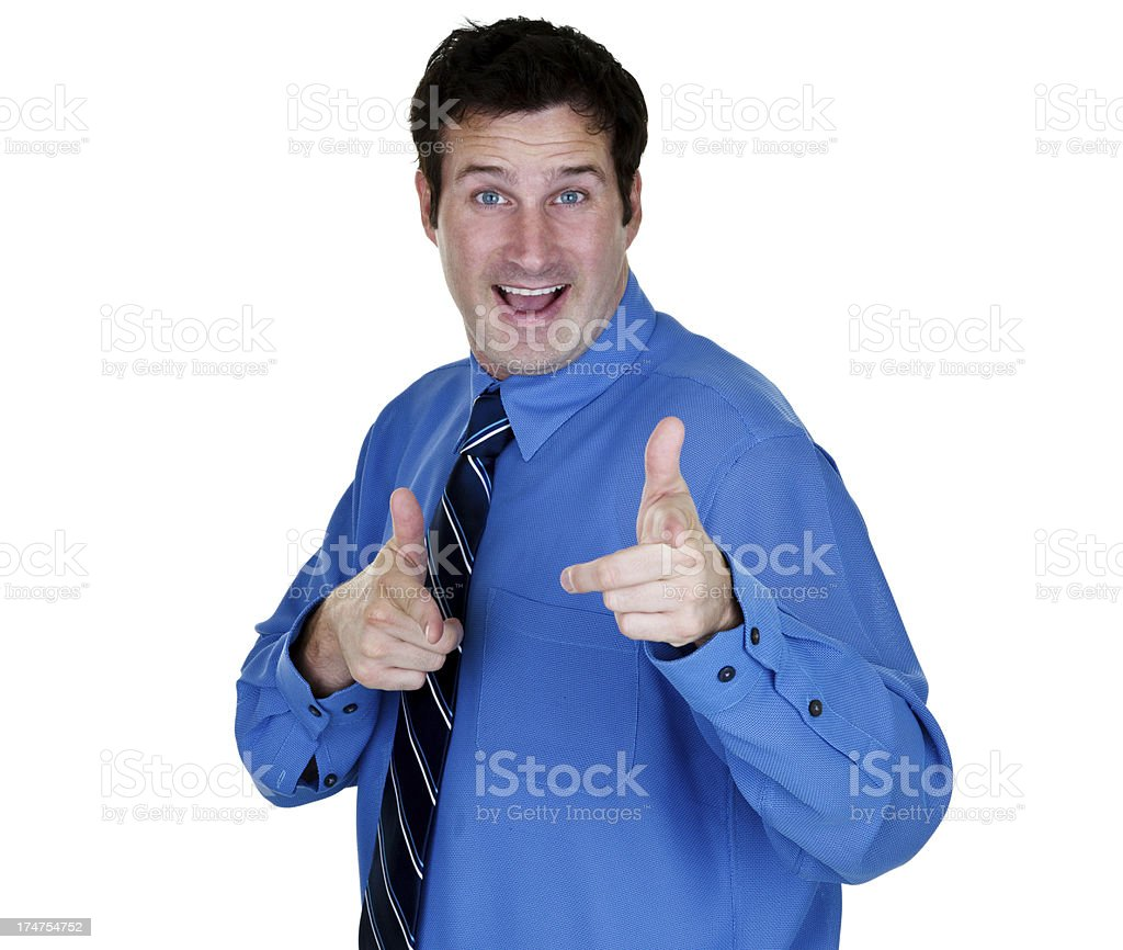 Salesman pointing to viewer stock photo