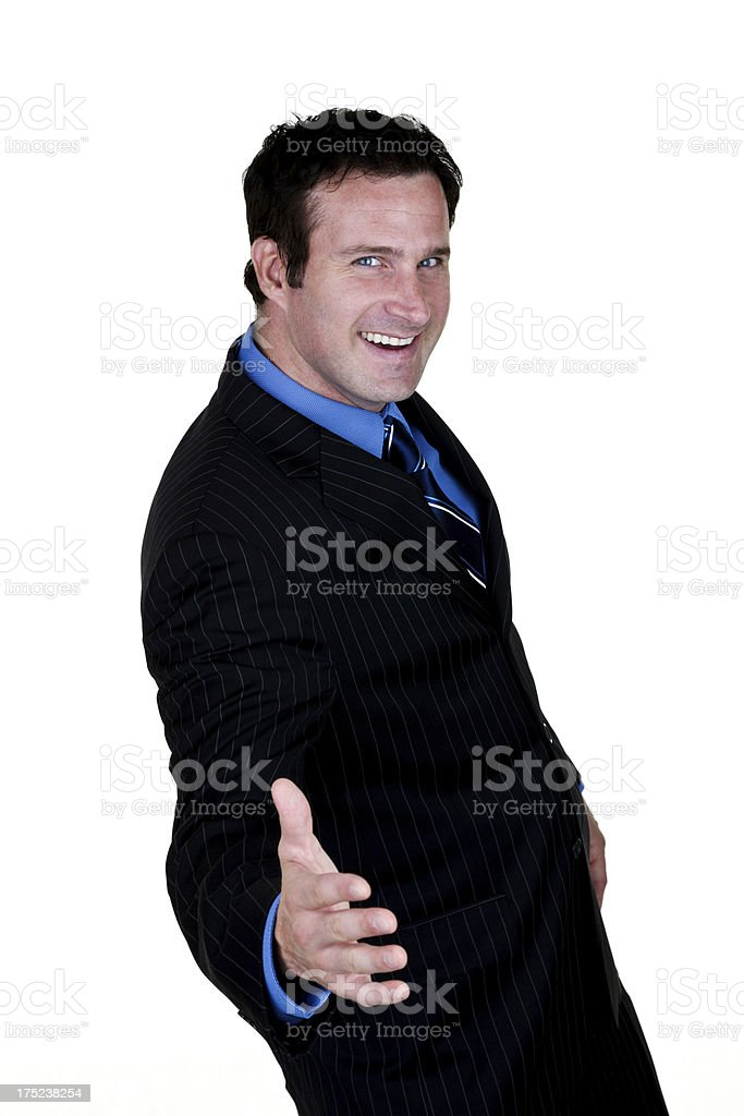 Salesman ready to shake hands stock photo