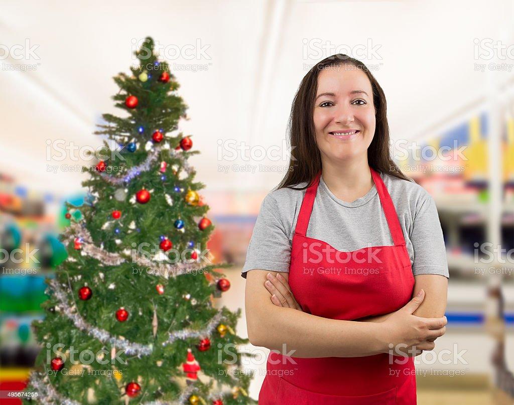 saleswoman on Christmas stock photo