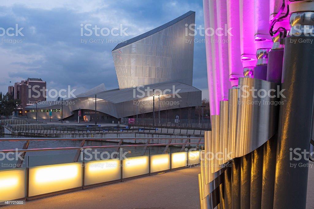 Salford Quays buildings illuminated on waterside stock photo