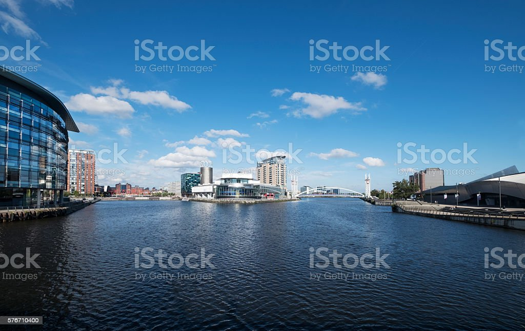 Salford Quays in the UK stock photo