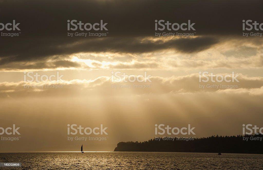 Saliboat Sunrise royalty-free stock photo