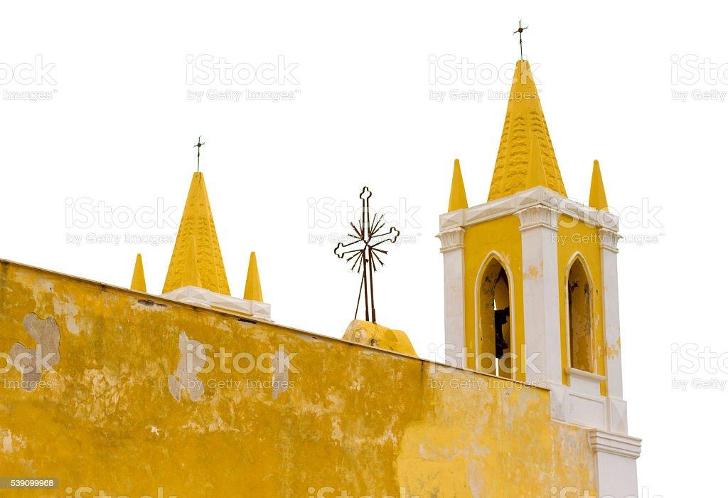 Salina, Sicily: Bright Yellow Church of Maria Ss Addolorata stock photo