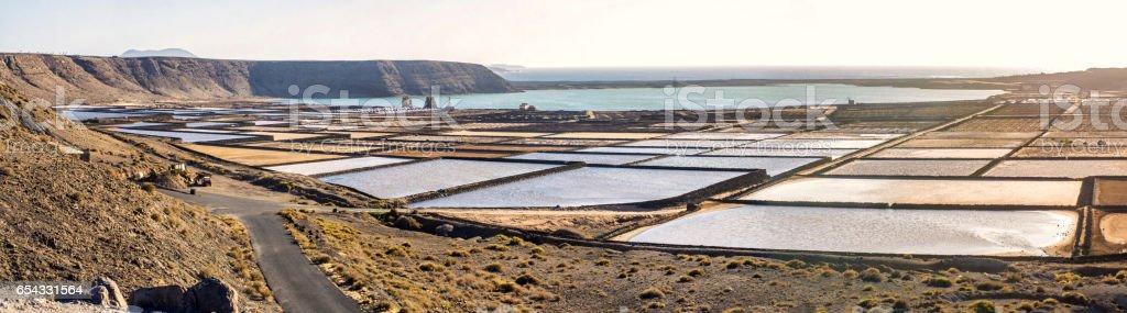 salinas de janubio salt mine lanzarote stock photo
