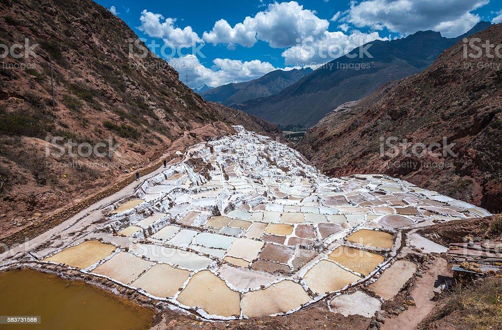 Salinas de Maras, man-made salt mines near Cusco, Peru stock photo