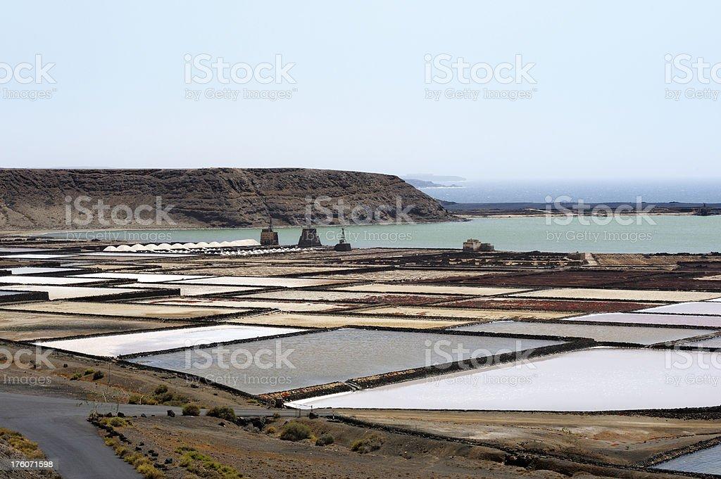 'Salinas del Janubio' salt production on lanzarote island stock photo