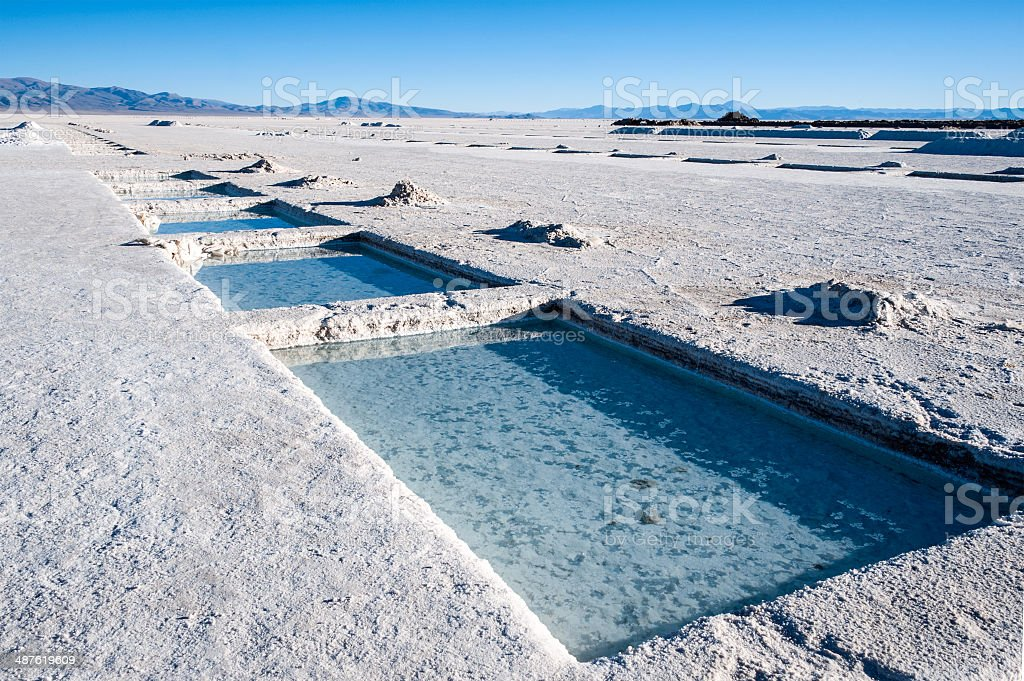 Salinas Grandes on Argentina Andes stock photo