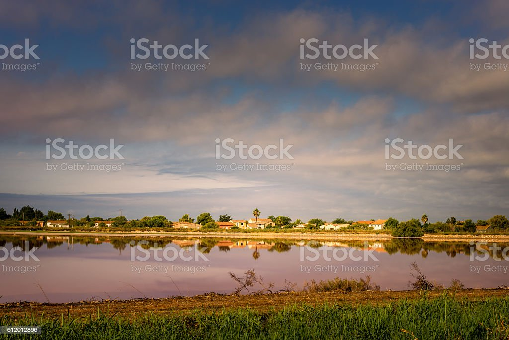 saline in Aigues-Mortes stock photo