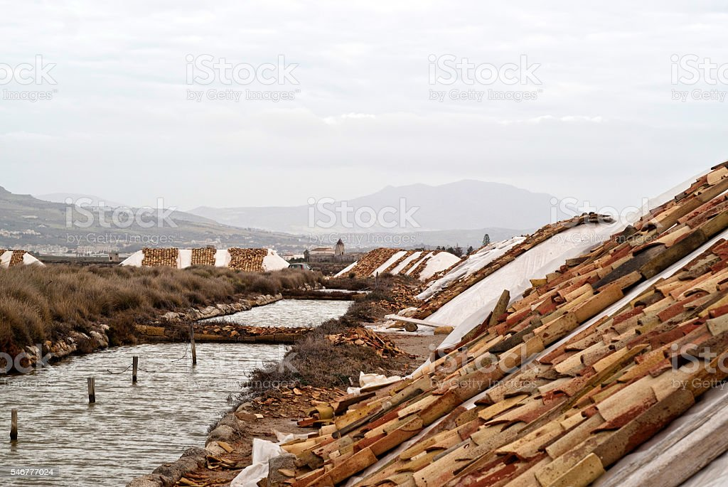 salines of trapani, sicily stock photo