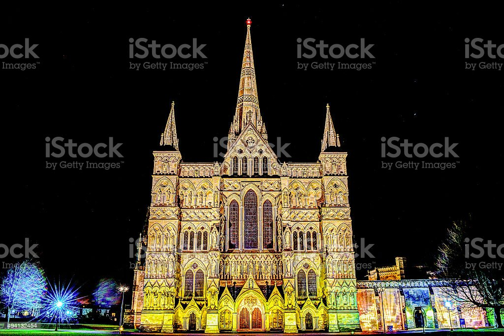 Salisbury Cathedral by night stock photo