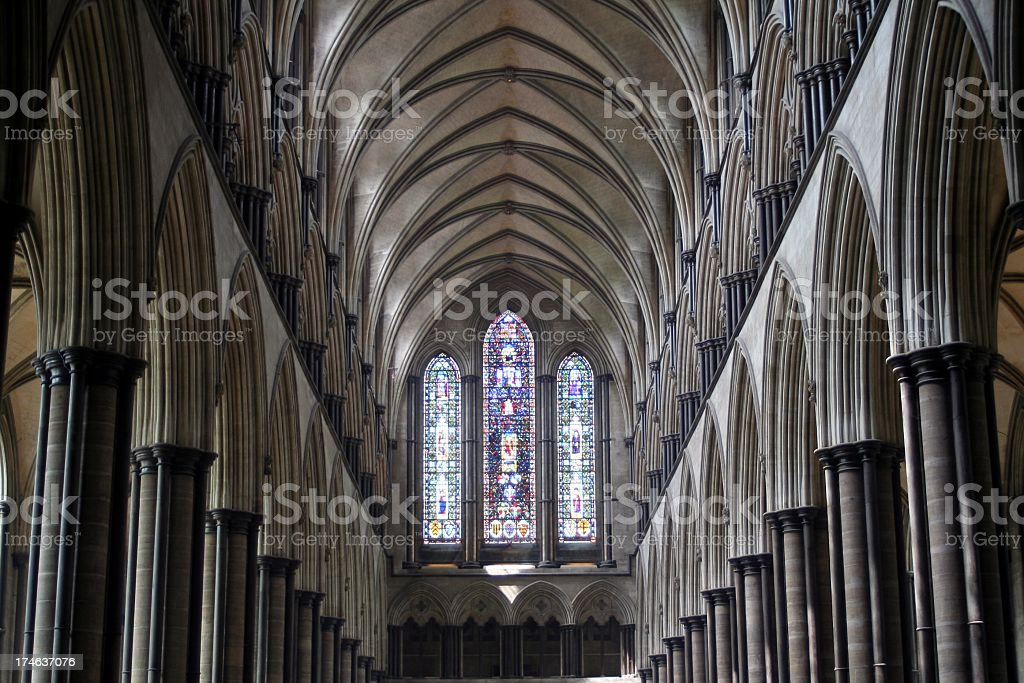 Salisbury Cathedral nave stock photo
