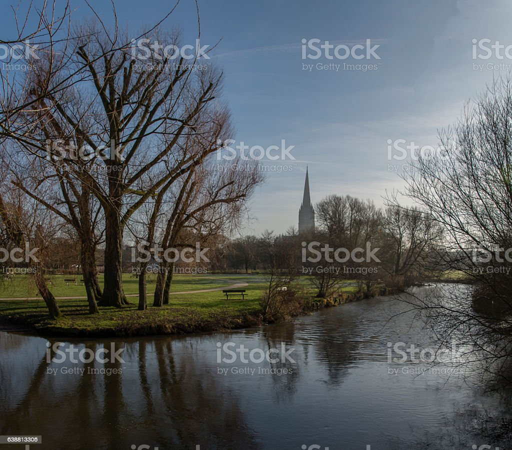 Salisbury Cathedral Winter Morning by River stock photo