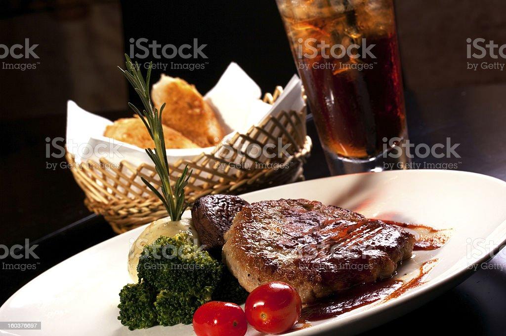 Salisbury steak, Lunch, Dinner & Drinks royalty-free stock photo