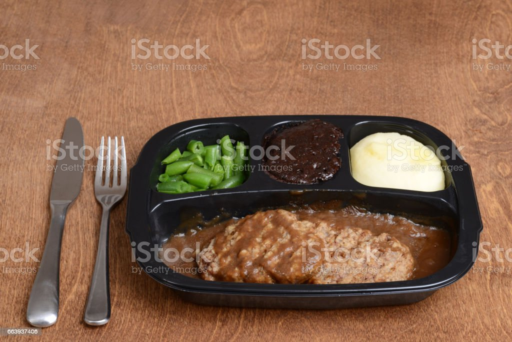 salisbury steak tv dinner stock photo