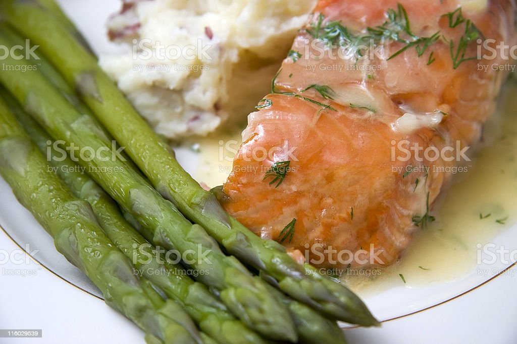 salmon and asparagus royalty-free stock photo