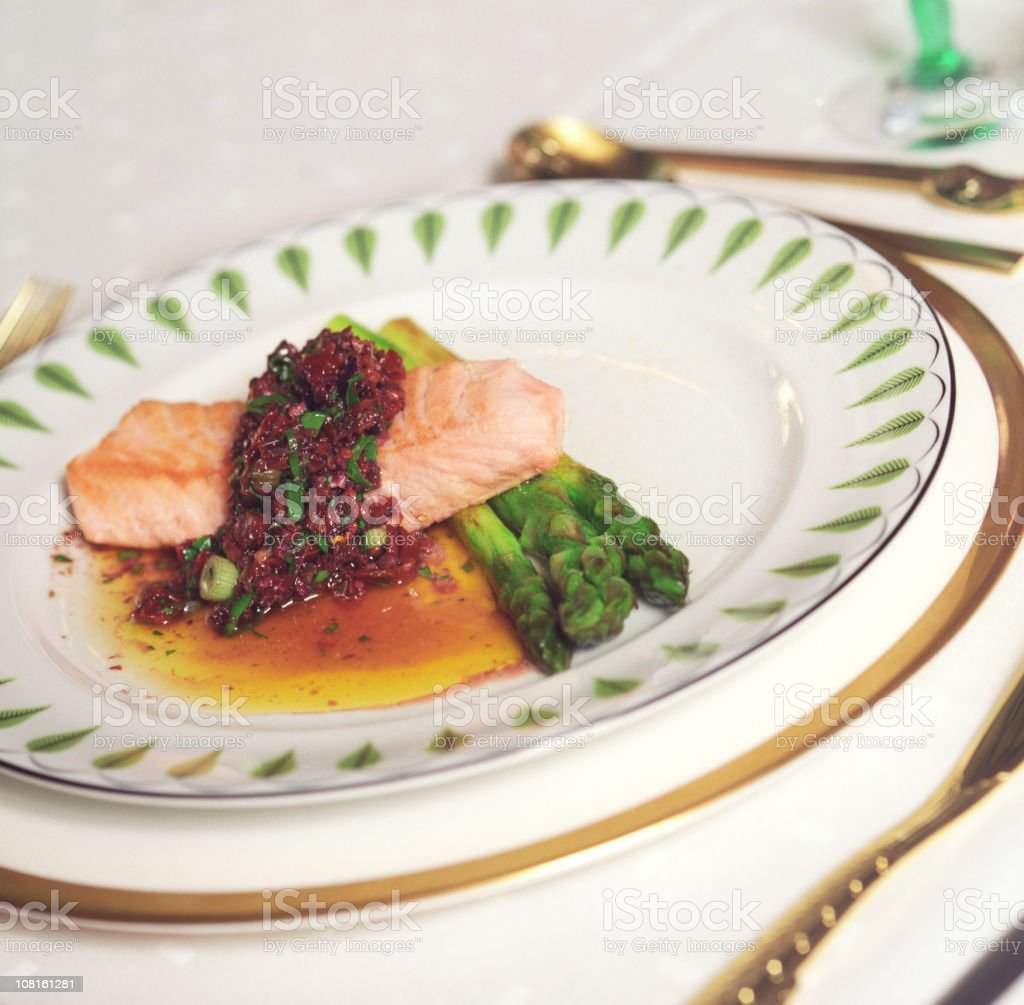 Salmon and Aspargus Lunch on China Plate Setting stock photo