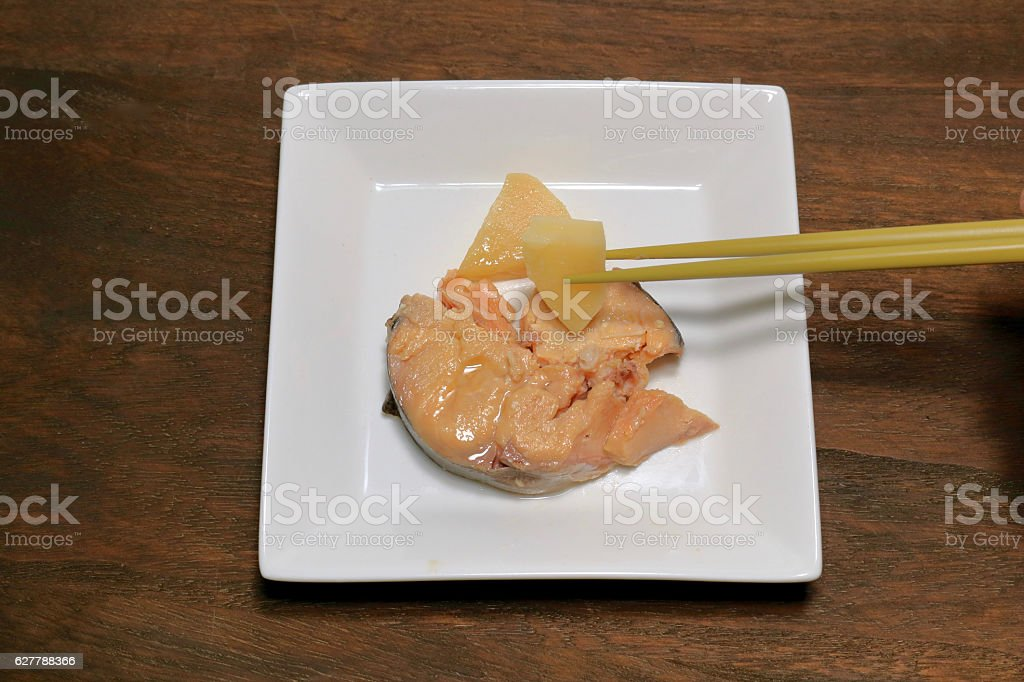 Salmon and bamboo shoots stock photo