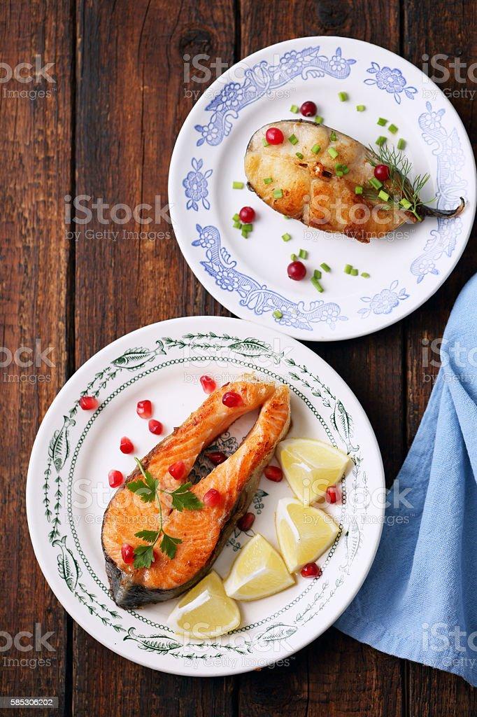 salmon and catfish stock photo