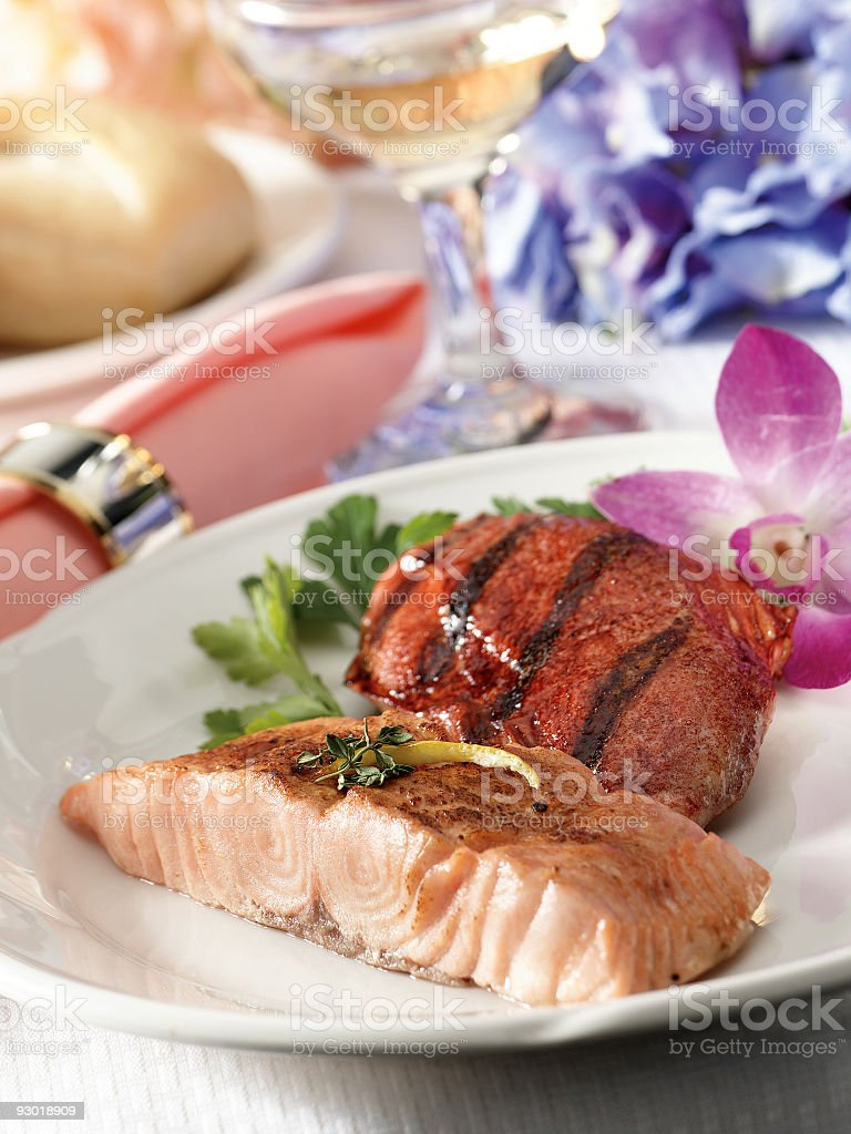 Salmon And Chicken stock photo