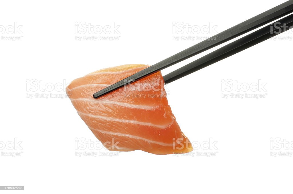 Salmon and chopstick royalty-free stock photo