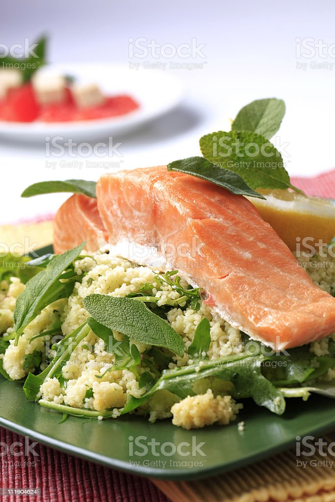 Salmon and couscous royalty-free stock photo