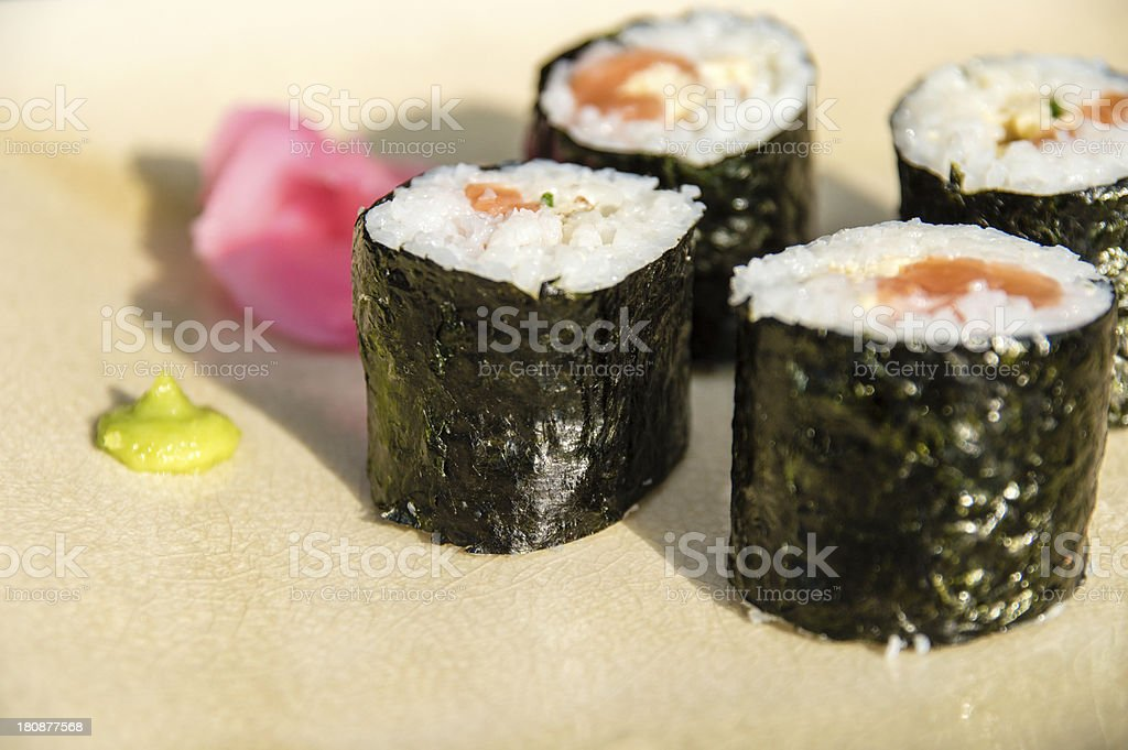 Salmon and Egg Maki Rolls royalty-free stock photo