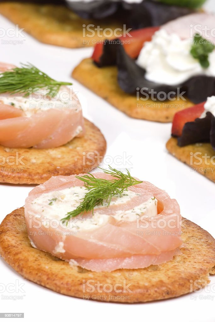 Salmon and goat cheese roll canape royalty-free stock photo