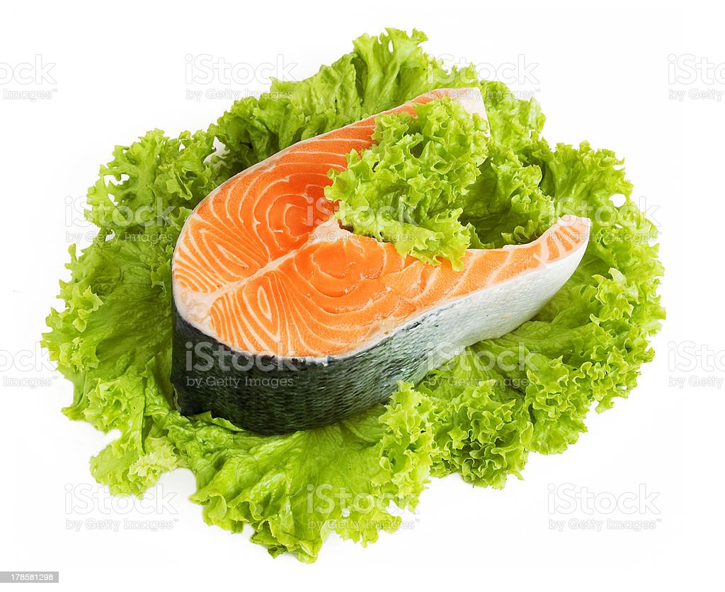 Salmon and lettuce royalty-free stock photo