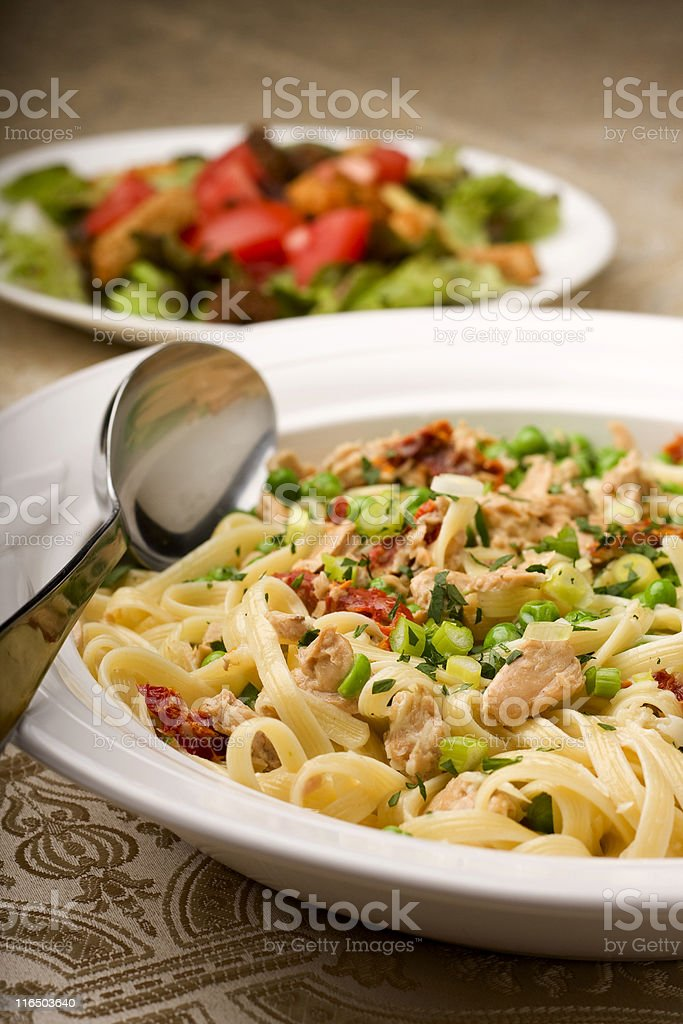 Salmon and Linguini royalty-free stock photo