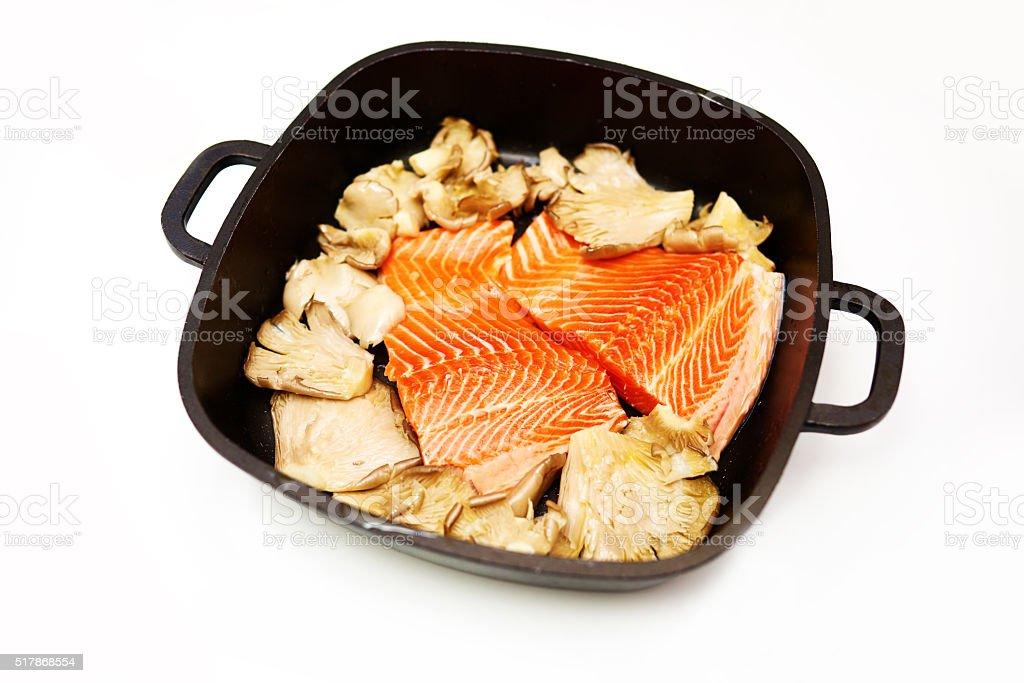 salmon and mushrooms stock photo