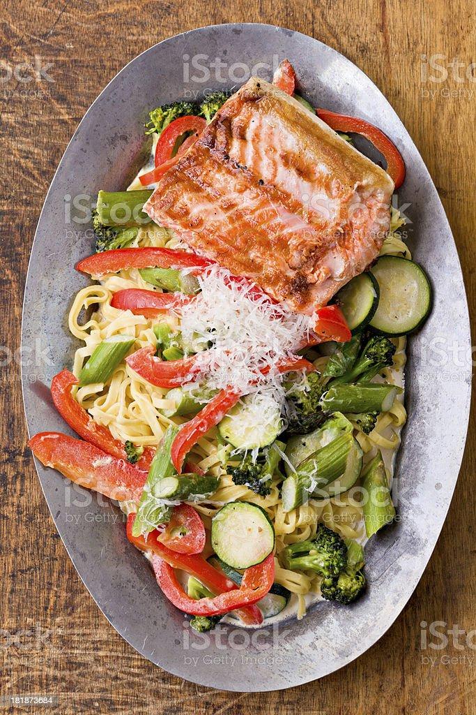Salmon And Pasta Primavera Platter royalty-free stock photo