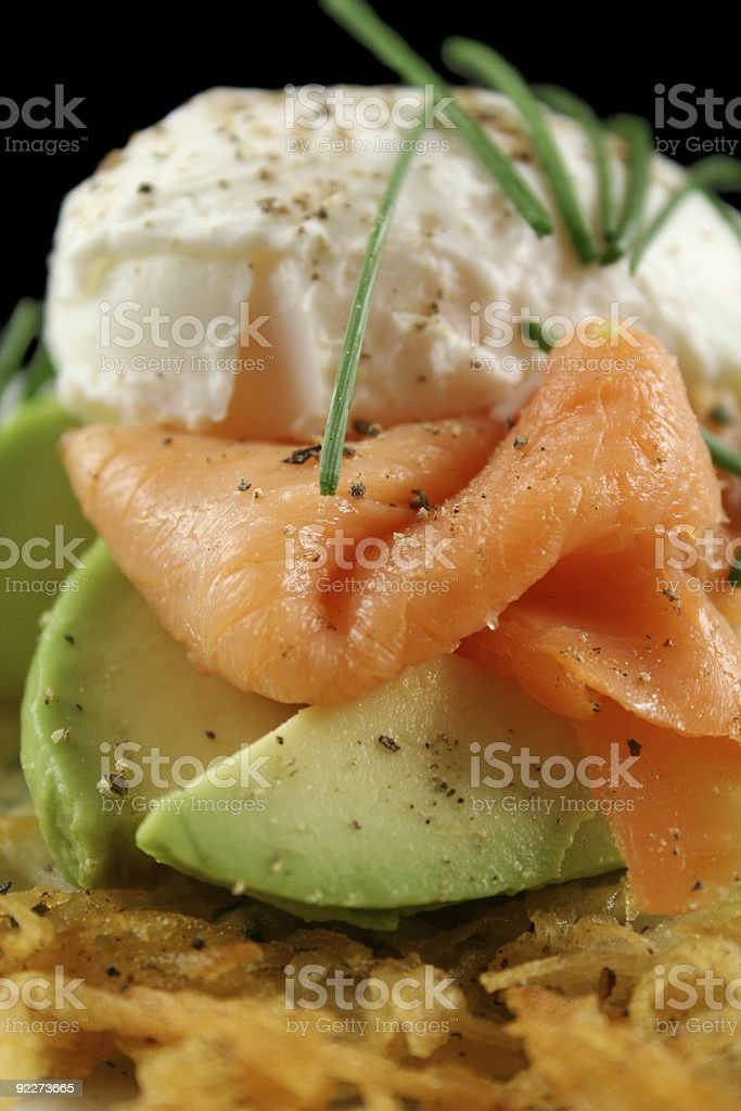 Salmon And Poached Egg Stack royalty-free stock photo
