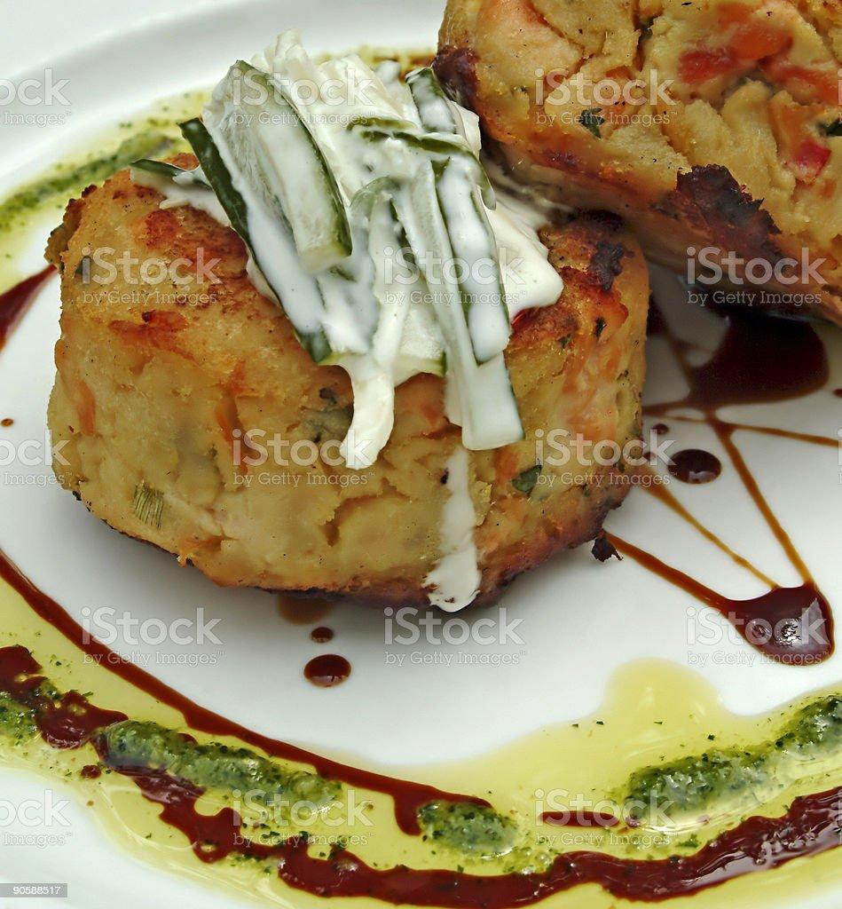 Salmon and potato cakes royalty-free stock photo