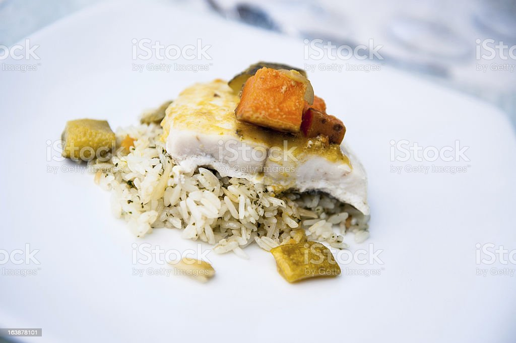 Salmon and rice royalty-free stock photo