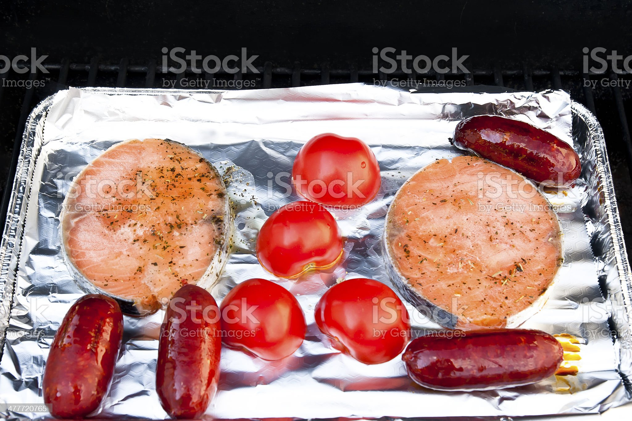 Salmon and Sausage Barbecue royalty-free stock photo