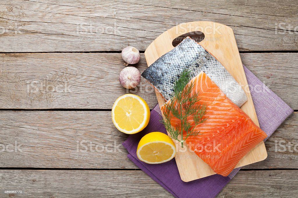 Salmon and spices stock photo