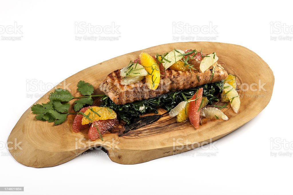 Salmon and Spinach royalty-free stock photo