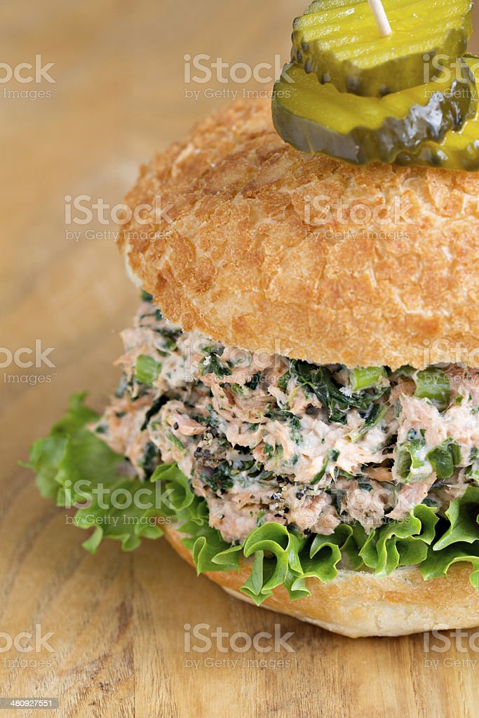 Salmon And Spinach Sandwich royalty-free stock photo
