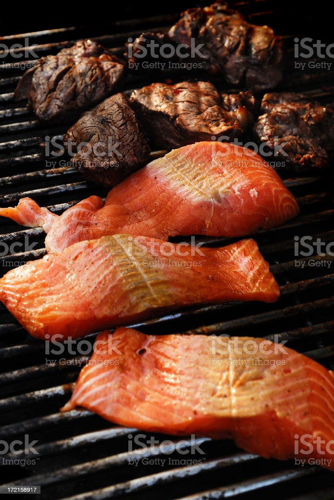 salmon and steaks stock photo