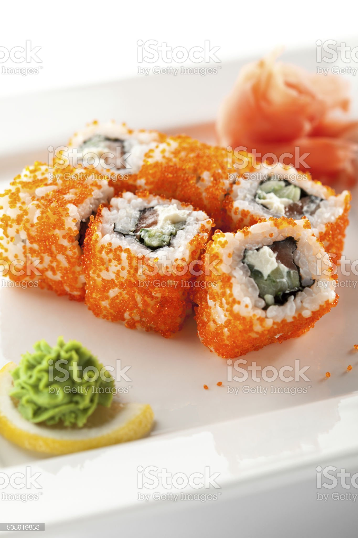 Salmon and Tobiko Roll royalty-free stock photo