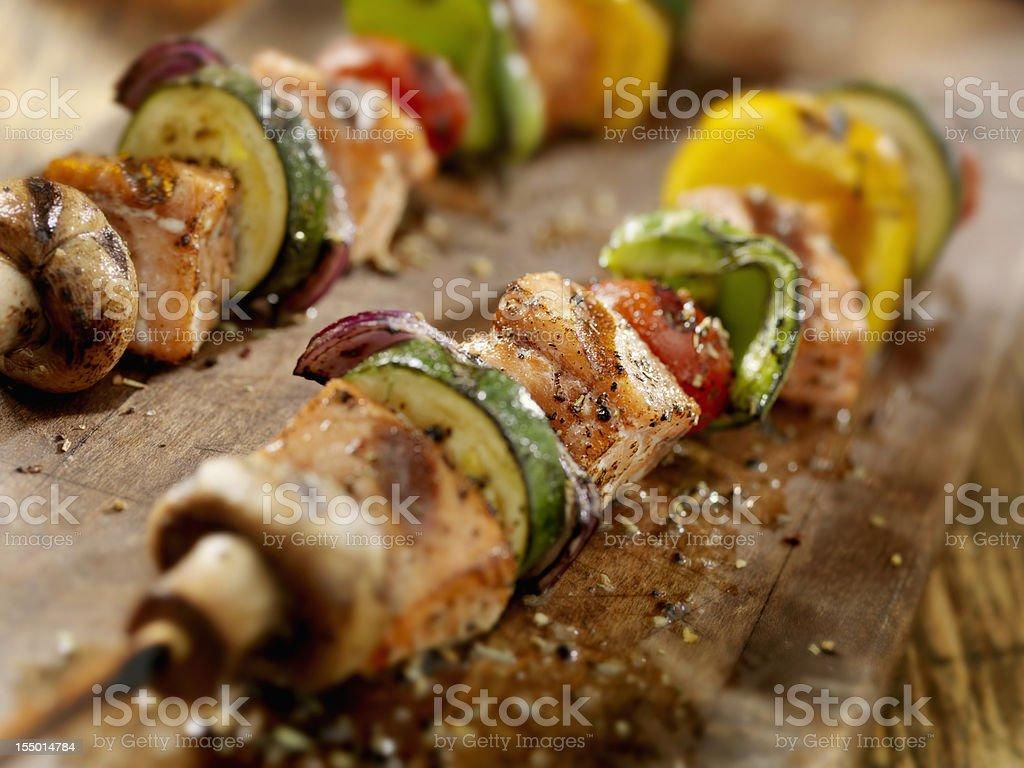 BBQ Salmon and Vegetable Kabobs stock photo