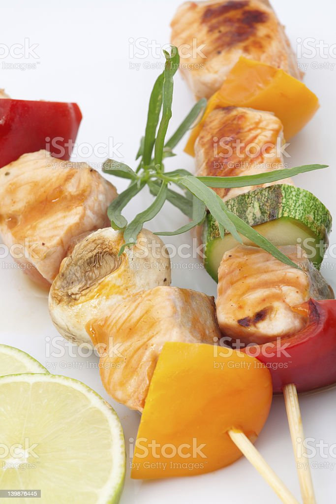 Salmon and Vegetable Skewers royalty-free stock photo