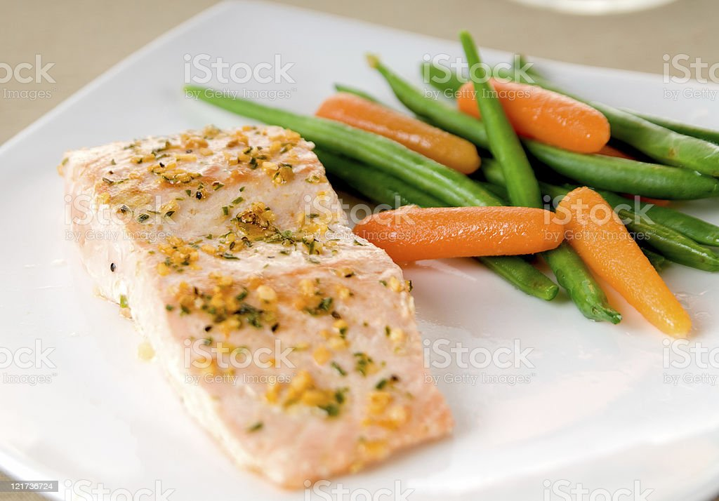 Salmon and Veggies royalty-free stock photo