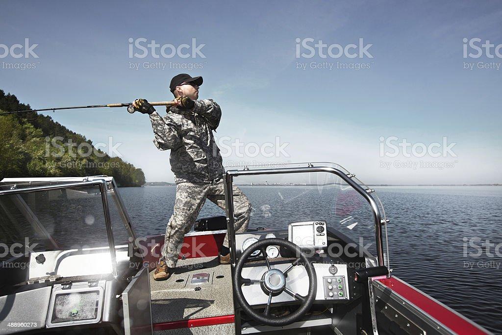 Salmon angler stock photo