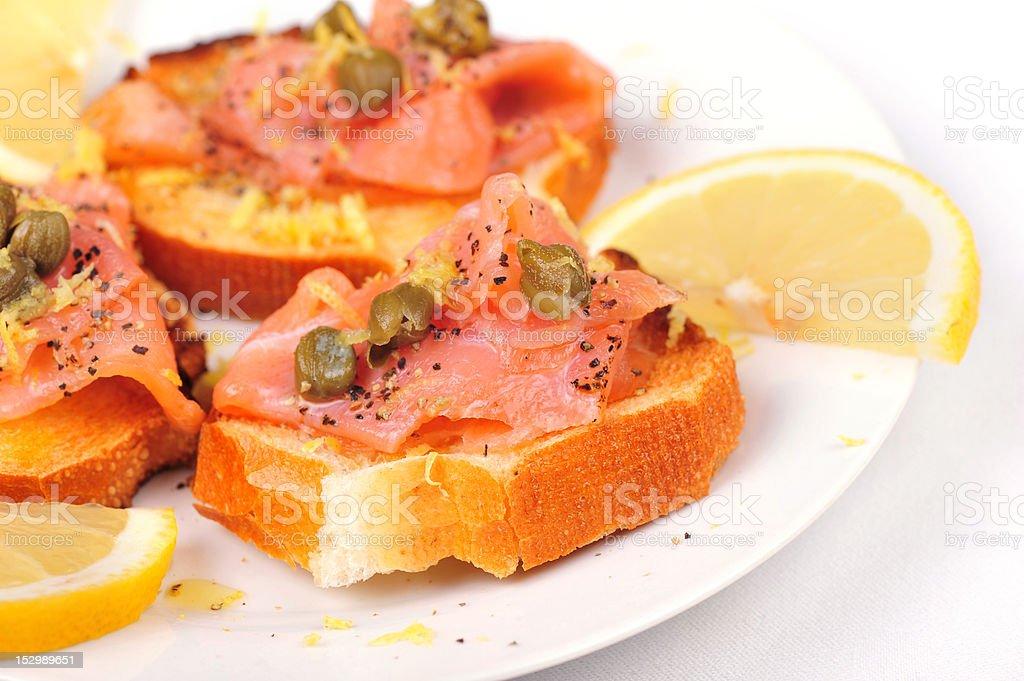 Salmon appetizer royalty-free stock photo
