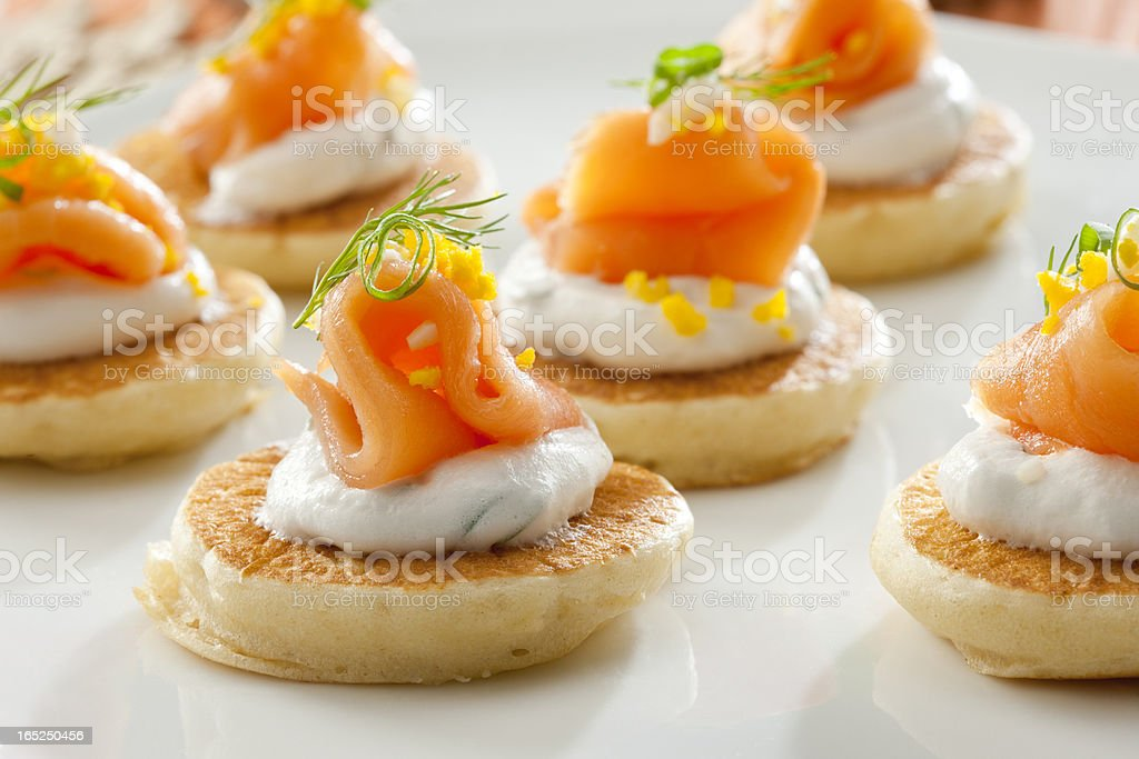 Salmon appetizers stock photo