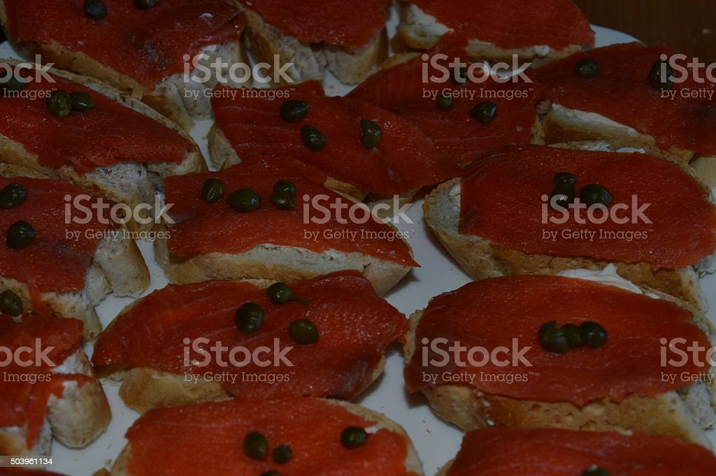 salmon appetizers royalty-free stock photo