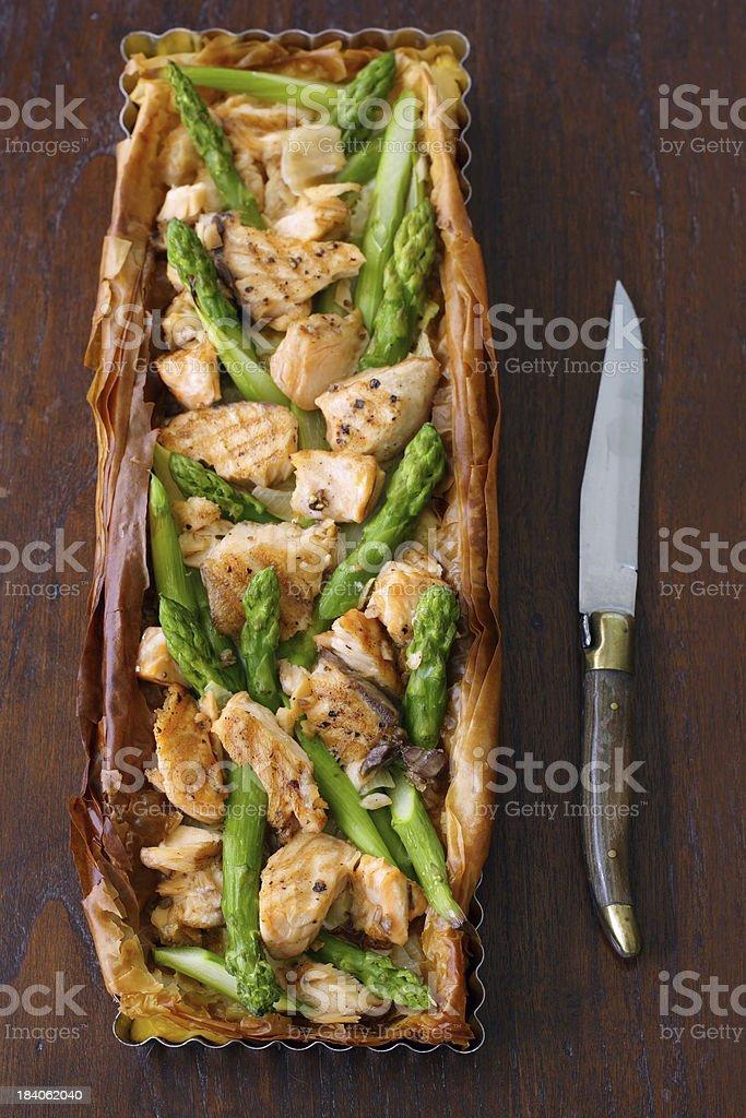 Salmon Asparagus Quiche royalty-free stock photo