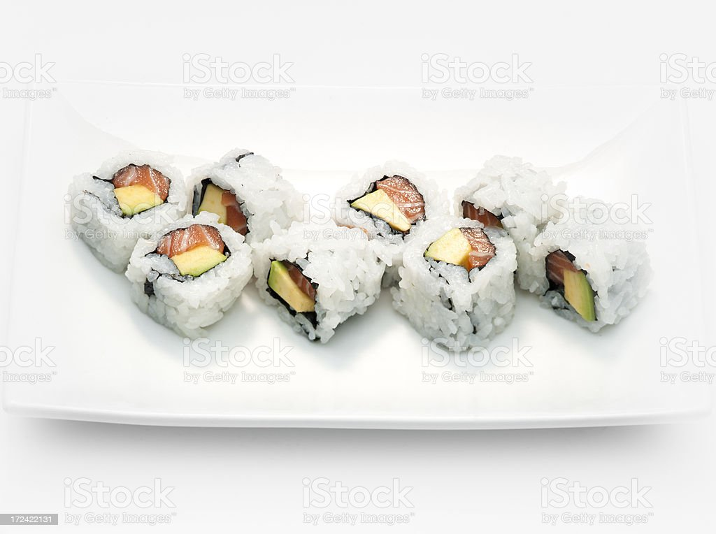 Salmon avocado maki royalty-free stock photo